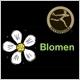 Blomen blomsterforretning logo