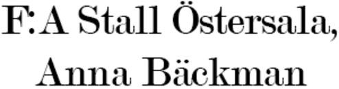 F:A Stall Östersala, Anna Bäckman logo