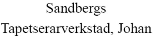 Sandbergs Tapetserarverkstad, Johan logo