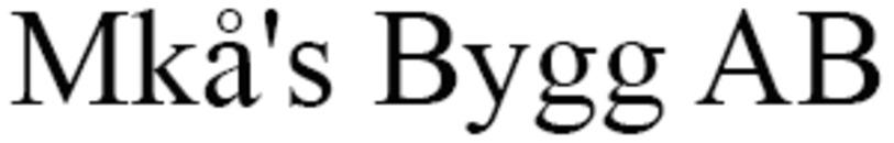 Mkå's Bygg AB logo