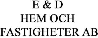 E & D Hem och Fastigheter AB logo